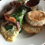 Three egg omelet with English muffin