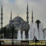 Blue mosque including fountain
