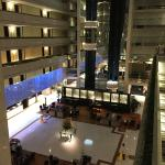 Hotel atrium in the evening