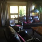 Large family room with gas heater & TV