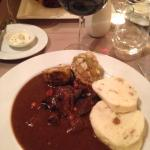 My venison goulash in a rich red wine sauce was wonderful.