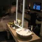 Gorgeous delft porcelain sinks in the room!