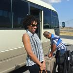 Getting on the shuttle from Liberia airport