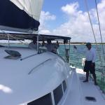 The hotel private sail yacht hosts a complimentary sunset cruise