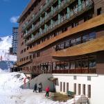 Rear of hotel showing exit from the boot room onto the nursery slope just above Bergerie lift
