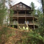 Front of the cabin on the mountain.