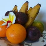 In-room fruit basket:Bananas,oranges,tangerines,Snake skin fruit.