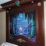 Above each bed in room; buttons for lighted fireworks and trees. Kids loved it!