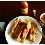 Tamale breakfast-- I bring my own coffee and you have to use Valentina