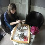 Making tea in our room (Wisteria). The Bloomsbury website has better photos than mine!