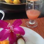 Enjoying a wonderful tropical breakfast on the lanai~