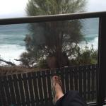 The view from the deck of the clifftop ocean condo