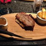 Steak and chips in the restaurant