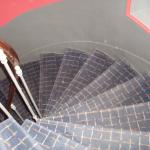 the spiral staircase if you do not want to use the elevator