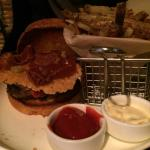 Burger with crispy cheese and crispy proscuitto - fries are excellent!