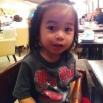 The little man having his first breakfast at Ramada's News Cafe at ths