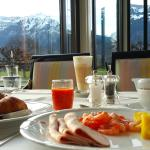 wonderful way to start the day, having breakfast with Mt. Jungfrau...