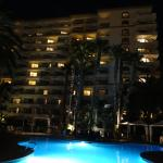 North side of the hotel and pool at night