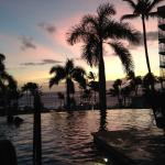 one of the infinity pools at sunset