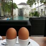 Breakfast by the pool area