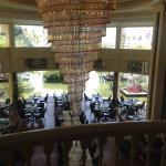 The view from the lobby, over the restaurant towards the grounds.
