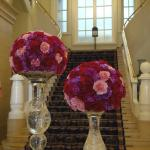 Lobby stairs and flowers