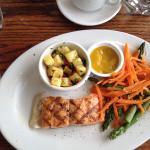 Grilled Salmon with Chili Lime sauce Pineapple Salsa and Asparagus with Carrots