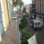 Balcony view--Bourbon St at the stop sign