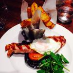 Gammon and egg £13:95,served in the restaurant,with divine homemade chips.evening main course.