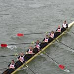 Rowing on Rhine river