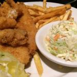 Terrific fried fish platter of ship, scallops and grouper