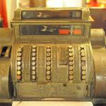 Ancient cash register in the hotel