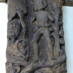 "An ancient carving of a ""Woodwose"" in the lounge"