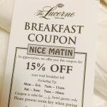 Thanks so much. Coupon for breakfast. 15% off.