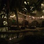 Turtle courtyard at night