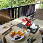 Breakfast on patio deck overlooking waterfall