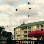 Hot air balloons over resort