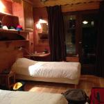 Our room, perfect for two, and the shelving is clever, this room had more space to put ski gear
