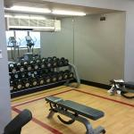 Free weights in gym with a great view, double beds and view from 13th floor room.