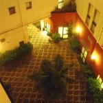 looking down into courtyard