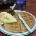 Make your own waffles. Cheese omelette and sausage patties...