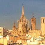 View of Sagrada familia from rooftop bar