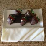 Chocolate covered strawberries upon arrival