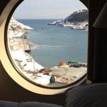 View from harbour side room with porthole window