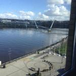 View of the river and peace bridge form our room.