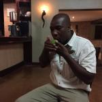 Shishangeni Lodge - Phillip, one of the staff members,  playing music for us