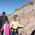 Checking out the petroglyphys while hiking up