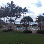 "This is the ""partial ocean view"" from our lanai (balcony)"