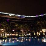 Night view of the hotel and pool at night
