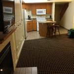 open layout, kitchen/dining/living
